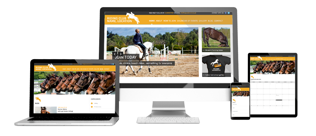 Riding Club Template with optional E-Commerce
